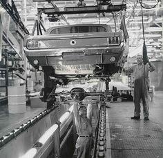 Ford Motor Company's San Jose plant at Milpitas, Calif., a Mustang convertible body swoops in to meet its rear axle. Ford Mustang 1964, 1964 Ford, Mustang Cars, Ford Mustangs, Mustang Fastback, Lamborghini Gallardo, San Jose, Maserati, Aston Martin