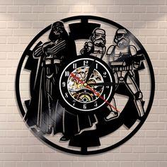 """Vinyl Record Wall Clock Darth Vader & Stormtrooper Design Vintage 12"""" Decor Art"""