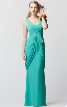 Chiffon Empire Floor-length Zipper Shoulder Straps Bridesmaid Dresses