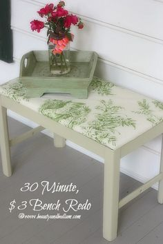 30 Minute, $3 Bench Redo and it's covered in wall paper. So easy!