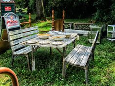 Rustic picnic table seen at the World's Longest Yard Sale | Blog: Musings from Bucks Mountain