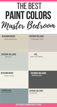 Best master bedroom paint colors including relaxing tones and top picks from Sherwin-Williams. Best master bedroom paint colors including relaxing tones and top picks from Sherwin-Williams. Best Paint Colors, Paint Colors For Home, House Colors, Best Bedroom Paint Colors, Paint Colours, Best Paint For Walls, Colors For Master Bedroom, Paints For Home, Colors For Small Bathroom