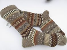 - a designer piece by . - a unique product by on DaWanda. Ravelry, Knitting Designs, Knitting Ideas, Sock Toys, Knitting Socks, Fingerless Gloves, Arm Warmers, Lotta, Fair Isles