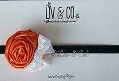 Orange and Black Rosette Satin Flower Baby by LivAndCompany