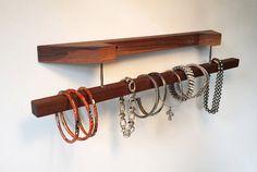 Walnut wood Bracelet / Scarf Holder / Display by Domitopia on Etsy