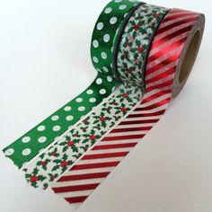 Holly Christmas Holiday Washi Set by BumpOfKnowledge on Etsy