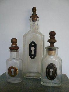 old bottles! Collection of Vintage Medicine Bottles with Keyholes and Lamp Finial Stoppers Altered Bottles, Vintage Bottles, Bottles And Jars, Glass Bottles, Mason Jars, Perfume Bottles, Antique Bottles, Wine Bottle Crafts, Jar Crafts