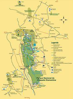 Mapa da Chapada Diamantina - Estradas e trilhas