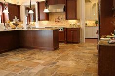 Travertine Floor Tiles For Kitchen With Wooden Cabinets : Elegant And Timeless Travertine Kitchen Tiles For The Floors Marble Countertops Kitchen, Kitchen Floor Tile, Travertine Kitchen Floors, Kitchen Tiles, Travertine Tiles Kitchen, Travertine Floors, Beautiful Kitchen Tiles, Beautiful Kitchens, Kitchen Floor Tile Patterns