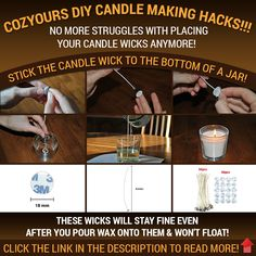 CozYours CANDLE WICKS WITH STICKERS FOR CANDLE MAKING, 50 PCS 8 INCHES, LOW SMOKE & NATURAL, perfect for making votive, container (ja...