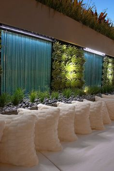 This is over-the-top gorgeous. Vertical gardens, water curtains and planting on top of wall // Rolling Stones Landscapes