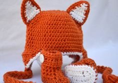 Crocheted baby Fox hat and booties Halloween set by ValkinThreads, $34.00