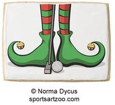 Christmas Golf Elf Feet Jumbo Cookie by SportsArtZoo #golf #Christmas #cookie
