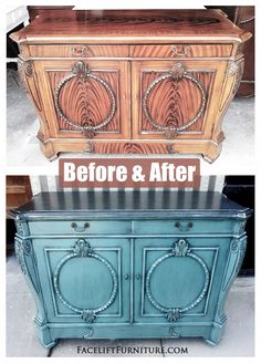 Ornate Sea Blue Buffet ~ Before & After. From Facelift Furniture's DIY Blog.