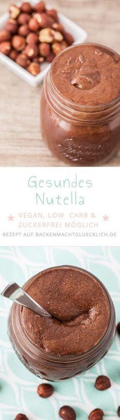 So einfach kann man Nutella selbermachen! Mit diesem Nutella-Rezept wird aus gerösteten Nüssen und Co eine gesunde vegane Schokocreme ohne Industriezucker, die je nach Zutat sogar low carb ist. | www.backenmachtgl...