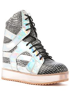 Jeffrey Campbell Sneaker  Rodman in Silver Snake and Hologram