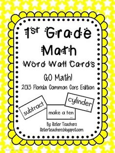 Go Math! 1st Grade Word Wall Cards