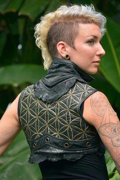 Leather Vest - Flower of Life