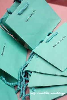 Custom 'Tiffany & Co.' bridesmaid favor bags <3