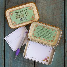 Look up Prayer Tin Box or altered tin boxes to find lots of ideas. Wish It Prayer Box..or make a worry prayer box to jot your worries down on!