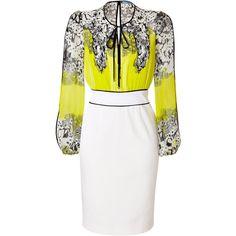 BLUMARINE White/Lemon/Multi Silk Dress ($1,610) ❤ liked on Polyvore