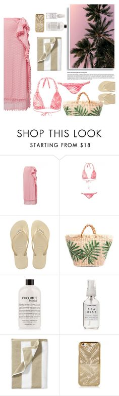 """pink sky"" by sanddollardubai on Polyvore featuring Melissa Odabash, Havaianas, philosophy, Herbivore and Serena & Lily"