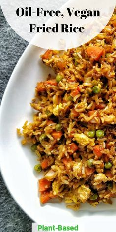 """Oil-free vegan """"fried"""" rice with mixed vegetables and scrambled tofu. Made with brown rice. This recipe is vegan, vegetarian, plant-based, and nut-free. Leftover Rice Recipes, Rice Recipes Vegan, Vegan Recipes Plant Based, Leftovers Recipes, Vegan Dinner Recipes, Vegan Dinners, Vegetable Recipes, Whole Food Recipes, Vegetarian Recipes"""