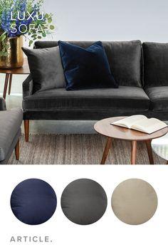 Dark Gray Velvet Sofa, 3 Seater, Solid Wood Legs | Article Luxu Modern  Furniture