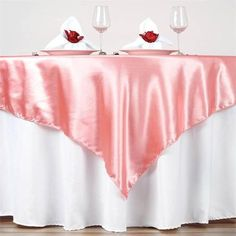 Due to the sophisticated luster of satin, our Rose Quartz Seamless Satin Square Tablecloth Overlay is one of the most popular linens with our custumers.