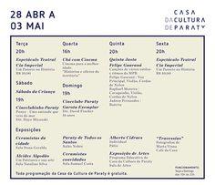 Confira a programação desta semana, na Casa da Cultura  #CasaDaCultura #CasaDaCulturaParaty #arte #exposição #música #fotografia #cultura #turismo #Paraty #PousadaDoCareca