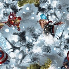 New - Marvel Avengers Sketch Art Toss - Springs Creative - 1 yard - More Available by BywaterFabric on Etsy