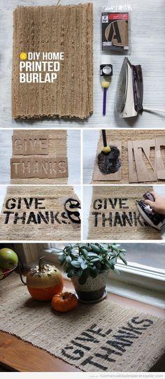 Tutorial pasillo de mesa en yute con palabras DIY