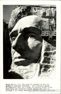 Real Photo Postcard Construction of Mt. Monte Rushmore, Hoover Dam, Memorial Park, Photo Postcards, First Nations, South Dakota, Old Pictures, Monuments, Abraham Lincoln