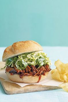 Sandwich tangy slaw and sweet pork together for a kid-friendly meal.  Recipe: Slow Cooker Pulled-Pork Sandwiches with Cabbage Slaw   - CountryLiving.com