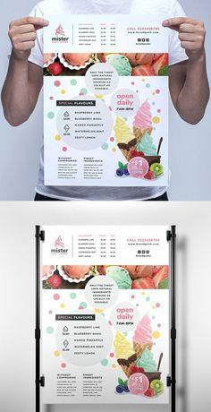Ice Cream Menu, Ice Cream Logo, Ice Cream Poster, Ice Cream Brands, Ice Cream Desserts, Menu Card Design, Food Poster Design, Shop Board Design, Ice Cream Quotes