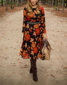 If you're apple-shaped: try a printed midi dress and over-the-knee boots. Get more fall outfit ideas here.