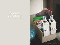 welcome guest - water bottle tags via seejaneblog