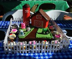 Here is a Farm cake I did for my Son's 2nd Birthday Party. It was a Barnyard Bash theme complete with a petting zoo and pony rides!