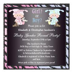 Baby Gender Reveal Cute Babies & Bunnies Card