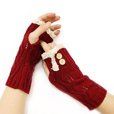 Burgundy Red Beige Lace Trim Buttoned Accent Knit  Fingerless Thumbhole Arm Warmer Gloves. Get the lowest price on Burgundy Red Beige Lace Trim Buttoned Accent Knit  Fingerless Thumbhole Arm Warmer Gloves and other fabulous designer clothing and accessories! Shop Tradesy now