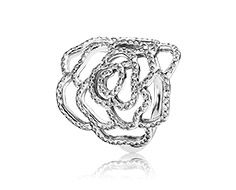 Medium rose silver ring with cubic zirconia