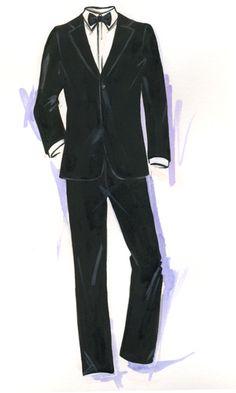Armani Tuxedo by Jennifer Lilya Groom Tuxedo, Tuxedo For Men, Drawing People, People Drawings, Fashion Drawing Dresses, Man Illustration, Fashion Figures, Fashion Design Sketches, Dibujo