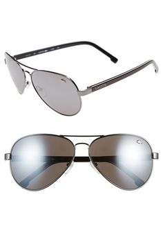 Men's Lacoste 62mm Aviator Sunglasses - Gunmetal/ Grey
