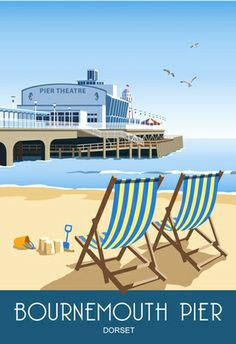 Bournemouth Pier and Deck Chairs. Find our store at 37 Old Christchurch Rd, Bournemouth, Dorset. War Photography, Types Of Photography, Bournemouth Beach, Bournemouth England, Art Deco, Railway Posters, Deck Chairs, Travel Illustration, Vintage Travel Posters