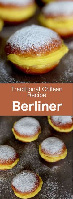 Berliner are donuts of Austro-German origin traditionally filled with custard, t. - Berliner are donuts of Austro-German origin traditionally filled with custard, that are very popula - Chilean Desserts, Cuban Desserts, Hispanic Desserts, Chilean Recipes, Easy Desserts, Mexican Food Recipes, Dessert Recipes, Chilean Food, Latin American Food