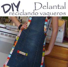 DIY Delantal reciclando pantalones vaqueros