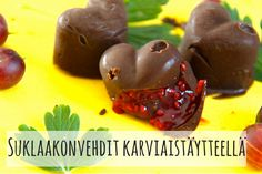 Suklaakonvedit karviaistäytteellä(1) Smoothie Bowl, Smoothies, Raw Cake, Raw Chocolate, Fodmap, Healthy Treats, Raw Food Recipes, Sweets, Vegan