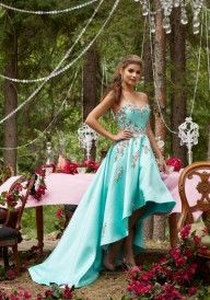 Shop Morilee's Larissa Satin Prom Dress with Floral Embroidery and Hi-Low Hemline. Prom Dresses by Morilee designed by Madeline Gardner. Satin Prom Dress with Floral Embroidery and Hi-Low Hemline. Illusion Back with Zipper Closure. Grad Dresses, Homecoming Dresses, Mori Lee Prom, Full Gown, Mori Lee Dresses, Sweetheart Prom Dress, Dream Dress, Special Occasion Dresses, Party Dress
