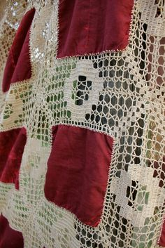 Gothic and Stunning Victorian Velvet and Crochet Bedspread Coverlet Merlot colored Velvet Tea Stained Intricate Crochet In Excellent Condition Measurements Com