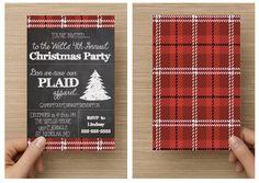 Printable Plaid Christmas Party Invitation by BlushandBashfulB